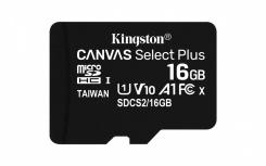 Memoria Flash Kingston Canvas Select Plus, 16GB MicroSDHC UHS-I Clase 10, 3 Piezas, con Adaptador