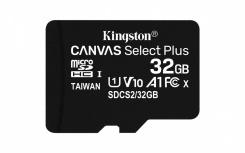 Memoria Flash Kingston Canvas Select Plus, 32GB MicroSDHC UHS-I Clase 10, con Adaptador