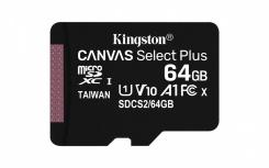 Memoria Flash Kingston Canvas Select Plus, 64GB MicroSDHC UHS-I Clase 10, con Adaptador