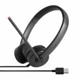 Lenovo Audífonos Stereo 4XD0K25031, Alámbrico, USB, Negro