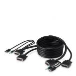 Linksys Cable KVM USB A/2x DVI/3.5mm Macho - USB B/2x DVI/3.5mm Macho, 1.8 Metros, Negro