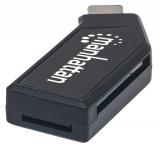 Manhattan Lector de Memoria 102001, MicroSD/SD/MMC, USB 2.0, 480 Mbit/s, Negro