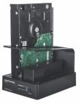 """Manhattan Gabinete QuickDock Duo para 2 Discos Duros, 2.5/3.5"""", SATA, USB 3.0, Negro"""