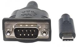 Manhattan Cable USB C Macho - Serial Macho, 45cm, Negro