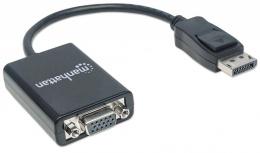 Manhattan Cable DisplayPort Macho - VGA (D-Sub) Hembra, 15cm, Negro