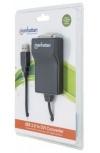 Manhattan Adaptador USB Macho - DVI Hembra, Negro