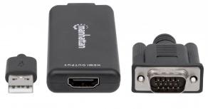 Manhattan Adaptador VGA (D-Sub)/USB - HDMI, 1920 x 1200 Pixeles, Negro