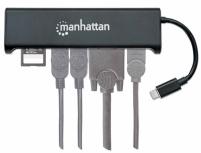 Manhattan Adaptador USB C - HDMI/VGAUSB, Negro