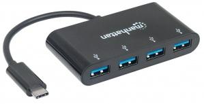 Manhattan Hub USB C 3.0 Macho - 4x USB A 3.0 Hembra, 5000 Mbit/s, Negro