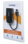 Manhattan Hub USB 3.0 de Supervelocidad, 3x USB A, 5000 Mbit/s - sin Fuente