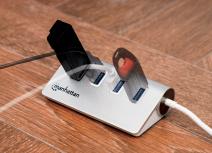 Manhattan Hub USB A 3.1 Macho - 4x USB A 3.0 Hembra, 5000 Mbit/s, Blanco