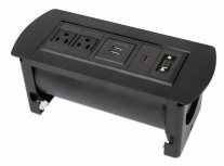Manhattan Caja para Mesa 164832, 2 Puertos + 2x USB, Negro