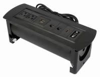 Manhattan Caja para Mesa 164856, 2 Puertos + 2x USB, Negro