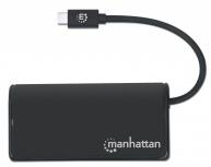 Manhattan Hub USB-C 3.2 Macho - 4x USB 3.2 Hembra, 5000 Mbit/s, Negro