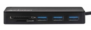 Manhattan Hub USB - 3x USB 3.2 Hembra, 5000Mbit/s, Negro