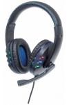 Manhattan Audífonos con Micrófono 176088, Alámbrico, 1.8 Metros, USB, Negro/Azul