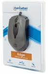 Mouse Manhattan Óptico Edge Alámbrico, USB, 1000DPI, Negro/Plata