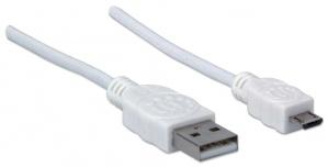 Manhattan Cable para Dispositivos USB de Alta Velocidad, USB 2.0 A Macho - Micro USB 2.0 B Macho, 1.8 Metros, Blanco