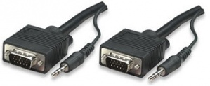 Manhattan Cable SVGA con Audio 8mm, 3.5mm HD15 Macho - 3.5mm HD15 Macho, 20 Metros, Negro