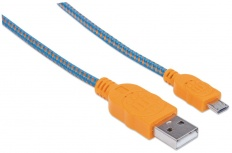 Manhattan Cable con Recubrimiento Textil USB 2.0 A Macho - Micro USB 2.0 B Macho, 1 Metro, Azul/Naranja
