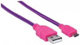 Manhattan Cable con Recubrimiento Textil USB 2.0 A Macho - Micro USB 2.0 B Macho, 1.8 Metros, Rosa/Morado