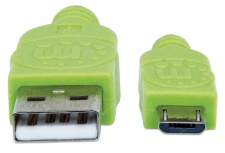 Manhattan Cable con Recubrimiento Textil USB 2.0 A Macho - Micro USB 2.0 B Macho, 1 Metro, Negro/Verde