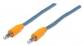 Manhattan 3.5mm Macho - 3.5mm Macho con Recubrimiento Textil, 1 Metro, Azul/Naranja