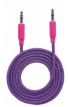 Manhattan 3.5mm Macho - 3.5mm Macho con Recubrimiento Textil, 1 Metro, Morado/Rosa