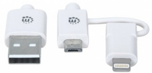 Manhattan Cable de Carga 2 en 1 iLynk, USB A Macho - micro-USB B Macho/Lightning Macho, 1 Metro, Blanco, para iPhone/iPad/Smartphone/Tablet