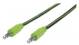 Manhattan Cable 3.5mm Macho - 3.55mm Macho, 1 Metro, Negro/Verde