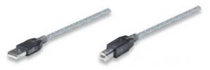 Manhattan Cable USB A Macho - USB B Macho, 11 Metros, Plata