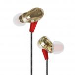 Maxell Audífonos Intrauriculares con Micrófono EB-PRO M2, Alámbrico, 3.5mm, Dorado/Rojo