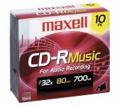 Maxell Discos Virgenes para CD, CD-R, 32x, 700MB - 10 Piezas