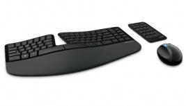 Kit de Teclado y Mouse Microsoft Sculpt Ergonomic Desktop, Inalámbrico, Negro (Español)