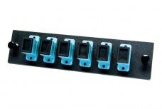 OCC Panel de 6 Adaptadores de Fibra Óptica SC, Multimodo, Negro/Azul