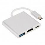 OEM Adaptador USB-C Macho - USB/HDMI/USB-C Hembra, Plata