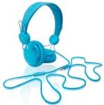 Perfect Choice Solids Audífonos con Micrófono, Alámbrico, 1.2 Metros, Azul