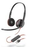 Poly Audífonos con Micrófono Binaural Blackwire 3220, Alámbrico, USB A, Negro