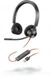 Poly Auriculares Blackwire 3320 Microsoft, Alámbrico, USB A, Negro
