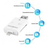Redlemon Lector de Memoria para Celular 76179, MicroSD/SD, USB/Micro-USB/Lightning, Blanco