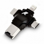 Redlemon Lector de Memoria 77837, MicroSD, USB/USB-C/Micro-USB/Lightning, Negro