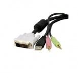 StarTech.com Cable KVM 4 en 1 DVI-D Dual Link Doble Enlace USB con Audio Micrófono, 3 Metros