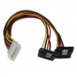 StarTech.com Cable SATA con Ángulo, 4-pin Molex Macho - 2x SATA 15-pin Hembra, 30cm