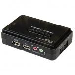 StarTech.com Switch KVM, USB, 2 Puertos, con Audio y Cables