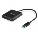 StarTech.com Adaptador de Video Externo USB 3.0 a 2 Puertos HDMI 4K para 2 Pantallas