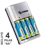 Steren Cargador CRG-020 para 1 - 4 Pilas AAA/AA/9V