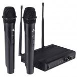 Steren Micrófono con Receptor WR-807, Inalámbrico, Negro - incluye 2 Micrófonos