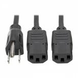 Tripp Lite Cable de Poder Divisor en ''Y'' NEMA 5-15P Macho - C13 Coupler Hembra, 1.83 Metros, Negro