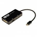 Tripp Lite Cable Adaptador Mini DisplayPort Macho - DVI-D/HDMI/HD15 Hembra, 15cm, Negro