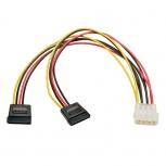 Tripp Lite Cable de Poder Molex 4 Pines Macho - 2x SATA 15 Pines Hembra, 27cm, Multicolor
